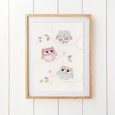 Nursery Art Print Owl Decor Baby Girl Nursery Kids by SnoodleBugs