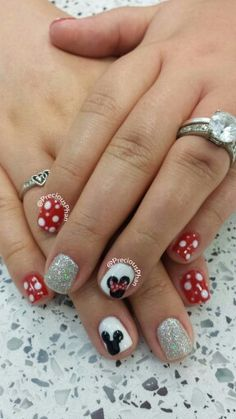 Couples, minnie mouse, mickey mouse, glitter,  polka dot nails