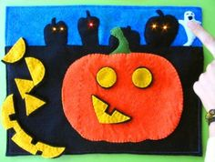 Seasonal Page - LED Halloween Jack-o-Lantern Quiet Book Page (the jack-o-latern, not so much the LED)