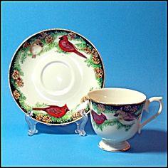 Lenox Cardinal Teacup and Saucer 1993 Lenox Birds of  America