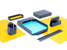 PRAXIS DESIGN, Postino, a collection of stationery items using anodised aluminum Metal Sheet Design, Sheet Metal, Desk Tray, Desk Set, Desktop Accessories, Office Accessories, Metal Furniture, Modern Furniture, Tole Pliée