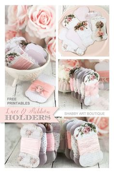 Free printable lace and ribbon holders and a tutorial from Shabby Art Boutique Shabby Chic Ribbon, Shabby Chic Crafts, Shabby Chic Embellishments, Ribbon Holders, Ribbon Cards, How To Make Ribbon, Shabby Vintage, Vintage Sewing, Lace Ribbon