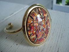 Vintage Topaz Opal Glass Gold Cuff Bracelet by boxerlovinglady #vogueteam