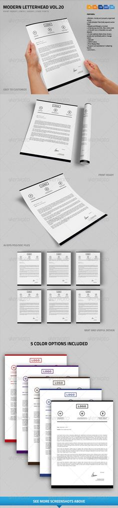 Modern Letterhead vol.20 with MS Word DOC/DOCX #business #psdtemplate #corporate #creative #printready #letterhead #elegant #original #personal #simple #trendy #letter #a4 #blank #logo #stationary #word #identity