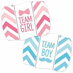 Chevron Gender Reveal Baby Shower Party Supplies - Gender Reveal Team Stickers - 16 ct | BigDotOfHappiness.com