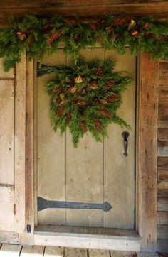 Wreath on country door