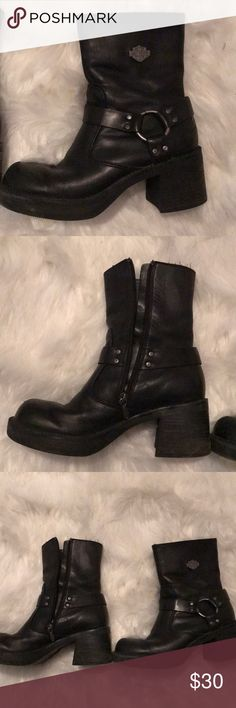 🖤HARLEY DAVIDSON MOTO BOOTS🖤 Authentic Harley Moto Boots. EUC🖤 the tag says size 7 but definitely fit like 7.5 Harley-Davidson Shoes Combat & Moto Boots