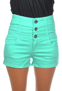 Blue High Waisted Shorts