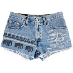 Tribal/Aztec Elephant Shorts, Hand Painted, Vintage Distressed High... ❤ liked on Polyvore