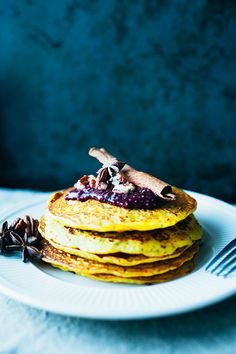 These easy to make, vegan and gluten free festive saffron pancakes are perfect for Christmas morning or any other moment worth that little extra.