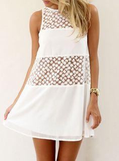 Vestido suelto encaje malla sin mangas-blanco 16.86