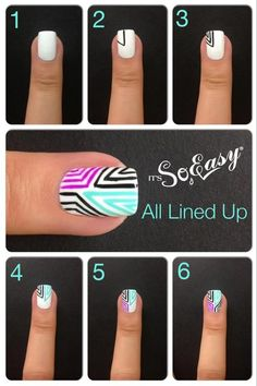 Easy DIY Nails (just use white nail polish and a variety of colourful sharpies).