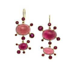 Playful earrings, 2015 18K gold, platinum, pink tourmalines and rubies I tend to like this silly design—polka-dots and random bursts. It is one of those ideas, like squashes and filigree, that I keep circling back to. Sometimes when I am looking at...