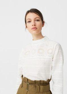 Geborduurde katoenen blouse