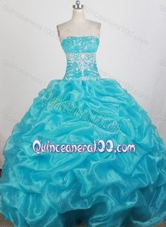 Sweetheart Ball Gown Ruching and Sequins Quinceanera Dresses in Aqua Blue