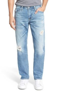 AG Adriano Goldschmied Men's Graduate Tailored-Leg Distress Jeans 33x34 NWT $255 #AGAdrianoGoldschmied #TailoredStraightLeg