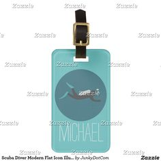 Scuba Diver Modern Flat Icon Illustration Tag For Luggage @zazzle #junkydotcom May 18