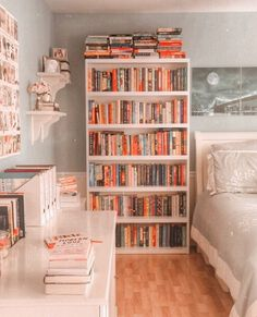 How do you guys store your books? Towering bookshelves or stacked along your bedroom floor? Honestly, I would love to have a room with… Study Room Decor, Cute Room Decor, Room Ideas Bedroom, Library Bedroom, Cozy Bedroom, Bedroom Decor, Bookshelves In Bedroom, Apartment Bookshelves, Decorating Bookshelves