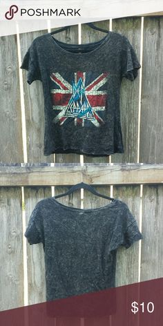 Distressed Band Tee If you're a Def Lepord fan this is the shirt for you! Worn once. Listed as Urban Outfitters for exposure. Urban Outfitters Tops Tees - Short Sleeve