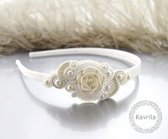 K Avril - Jewellery author. soutache Pascalli White Headband. size 7cm x 3.5cm