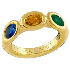 Chaumet Paris Yellow and Blue Sapphire Emerald Gold Ring | From a unique collection of vintage three-stone rings at https://www.1stdibs.com/jewelry/rings/three-stone-rings/