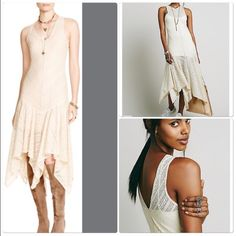 Free People Dress Free people nude / Cream gorgeous stretch lace slip dress with seam detailing . Love the bottom Assymetrical hemline nwt size small NWT Free People Dresses