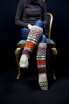 Knee high knitted socks with Scandinavian ornaments for women gift for her. via Etsy.