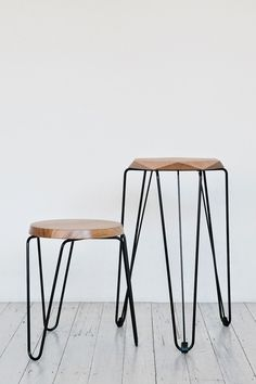 Wood + metal stool. Faceted edge. The Design Chaser