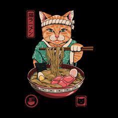 Shop Japanese Maneki Neko Lucky Charm Ramen Cat Ramen Men's T-Shirt by Vincent Trinidad. Maneki Neko, Et Wallpaper, Framed Art Prints, Canvas Prints, Japanese Art Modern, Japon Illustration, Japan Art, Cat Art, Anime Art