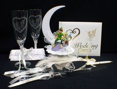 DISNEY Tinkerbell Peter Pan Wedding Cake Topper LOT Glasses Knife Guest Book SET