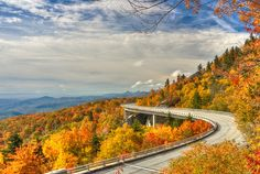 Autumn colors at Linn Cove Viaduct - North Carolina