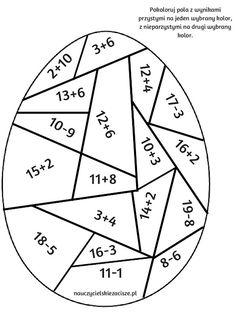 Nauczycielskie zacisze: Wielkanocne pomoce cz.3 - pokoloruj wg instrukcji Primary Teaching, Teaching Tools, Teaching Math, Math Worksheets, Math Activities, Easter Arts And Crafts, Math Sheets, Math Art, First Grade Math