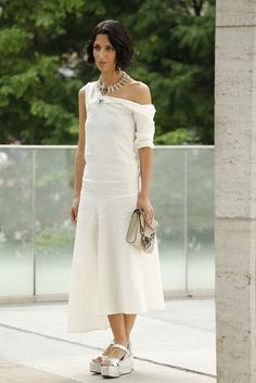 #Yasmin, a vision in white. They Are Wearing: New York Fashion Week - Slideshow