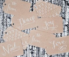 Hand-drawn calligraphy kraft paper gift tags Source: Sweet Muffin Suite