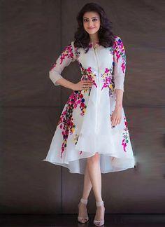 Kajal Agarwal Off White Georgette Party Wear Kurti - Sale Western Dresses For Women, Frock For Women, Stylish Dresses For Girls, Stylish Dress Designs, Dress Indian Style, Indian Fashion Dresses, Girls Fashion Clothes, Indian Outfits, Girl Fashion