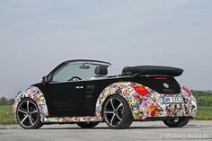 VW New Beetle Convertible stickerbombed