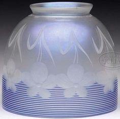 Steuben Glass Values | Steuben glass Verre de Soie shade with dark blue machine-thread ...