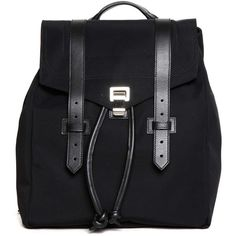 PROENZA SCHOULER Nylon and leather backpack ($1,315) ❤ liked on Polyvore featuring bags, backpacks, real leather backpack, leather daypack, leather knapsack, proenza schouler bag and knapsack bag