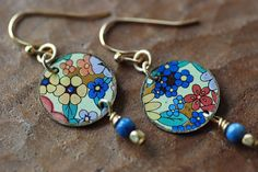 RESERVED FOR JUDYVintage Tin Earrings Flower by EntwyneDesigns