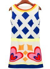 Beige Sleeveless Geometric Print Tank Dress $36.84 #SheInside @SheInside