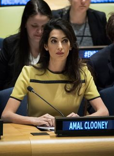 "Amal Clooney attends an event titled ""The Fight against Impunity for Atrocities: Bringing Da'esh to Justice"" at the United Nations headquarters, March 2017 in New York City. - Amal Clooney Addresses the UN High Level Event on Bringing ISIL to Justice Amal Clooney, George Clooney, Business Outfits Women, Business Women, Nyc March, Human Rights Lawyer, Badass Women, Powerful Women, Girl Crushes"