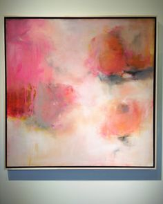 Learning to bloom, oil on canvas, original abstract painting by Sharon Kingston.  36x36 inches.  www.sharonkingston.com