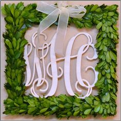 Love the monogram wreath! Boxwood Wreath Diy, Diy Wreath, Door Wreaths, Wreath Ideas, Wood Monogram, Monogram Wreath, Porch Decorating, Holiday Decorating, Decorating Ideas