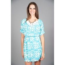 EVERLY: Peaks and Valleys Dress-Turquoise - $40.00