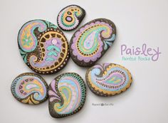 Pastel Paisley Painted Rocks - Repeat Crafter Me