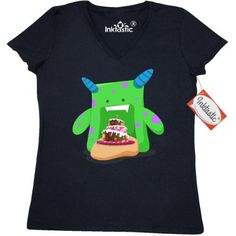 Inktastic Birthday Cake Monster Women's V-Neck T-Shirt Bday Cute Clothing Apparel Tees Adult, Size: XL, Black