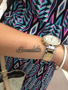 """THIS IS EXACTLY WHAT I WANT ! """"Benedetta"""" which means Blessed in Italian , but with a different font. <3"""