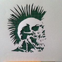 Exploited skull mini stencil cut today #theexploited #punx #punk #skull #punkasfuck #ministencil #minicuts #handcutstencils #handcut #stencil #stencilism #stencilart #stencilartist #punkrock #stanleycuts #stanleysprays