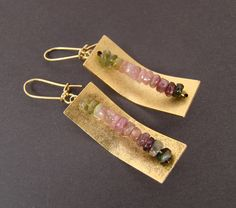 Gold metal rectangles with tourmaline rondelle earrings.  Jewelry