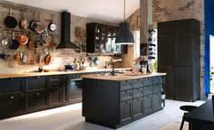 Graphite cupboards with wooden work tops - annie sloan chalk paint